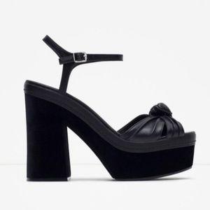 Zara velvet platform heel sandals black chunky 8
